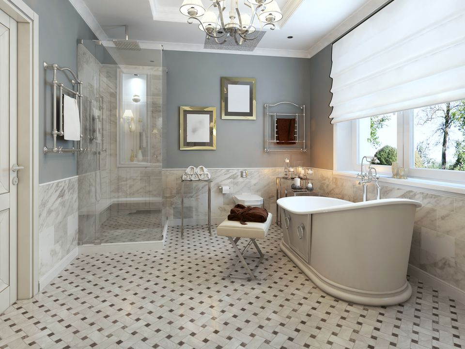 Blue provencal bathroom concept