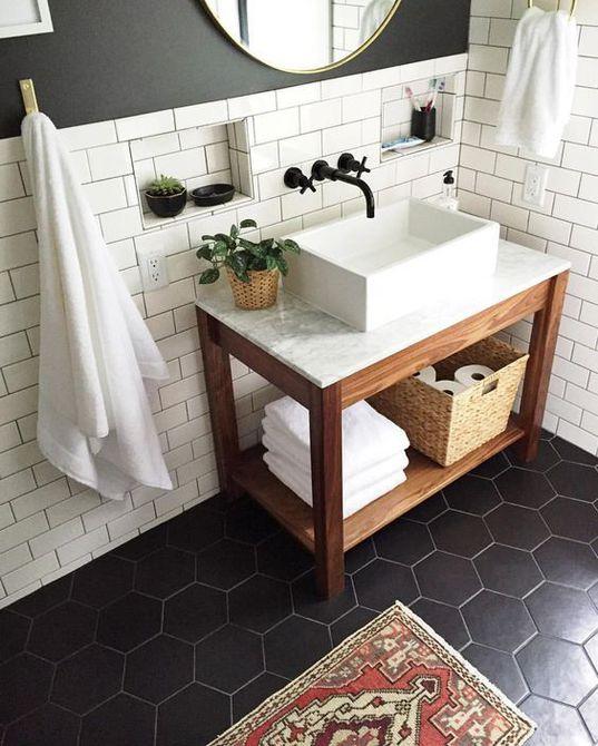 tocador de mármol de baño en blanco y negro