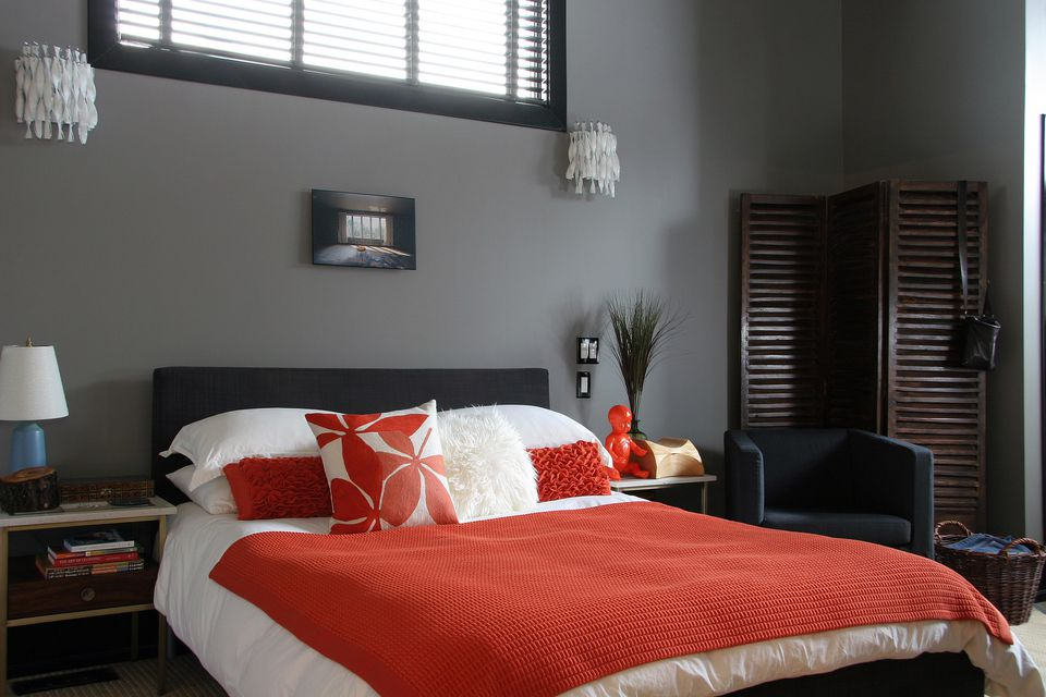 Grey and orange bedroom furniture