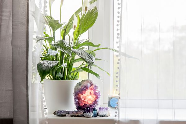 Greenery and crystals in the corner area