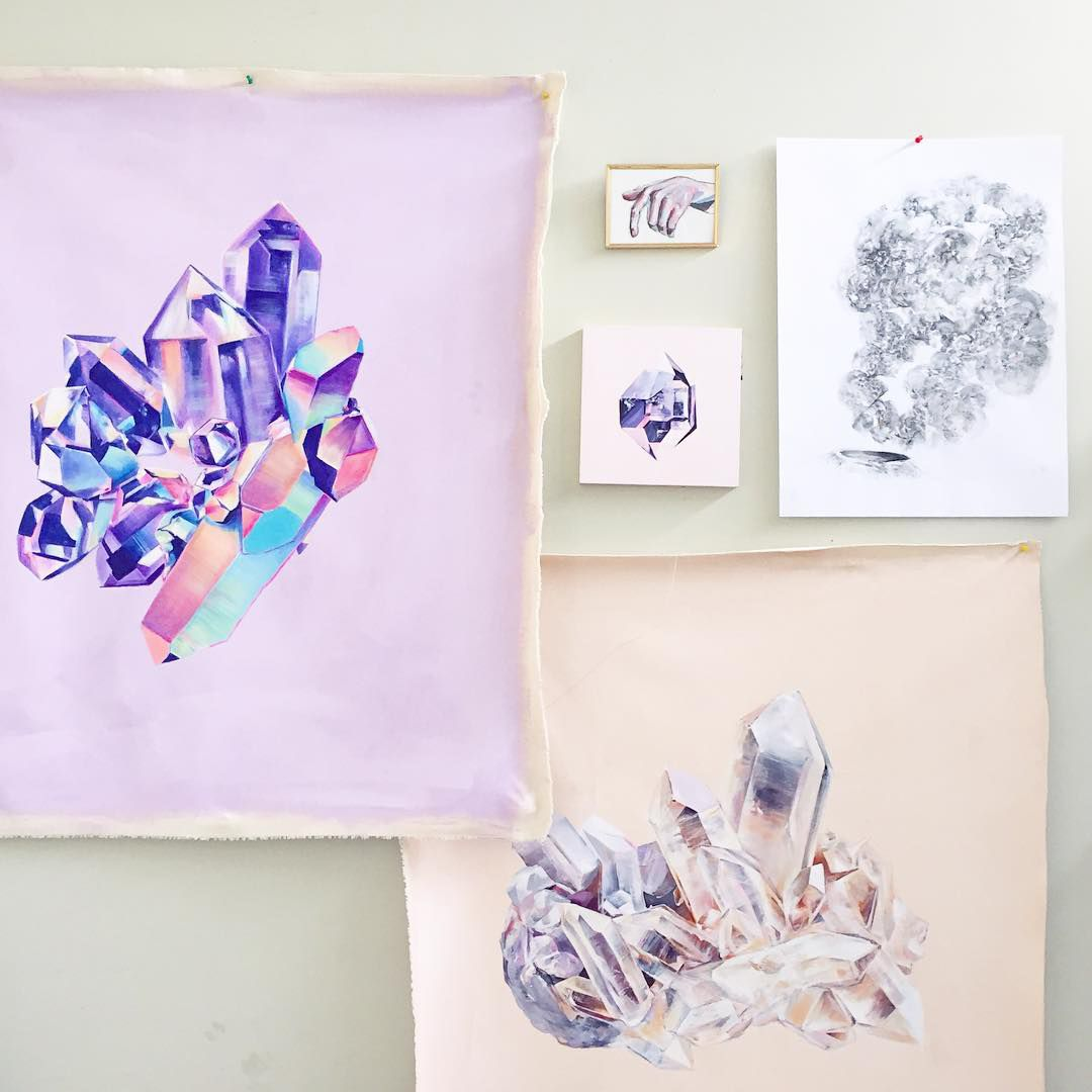 Crystal artwork hanging on a wall