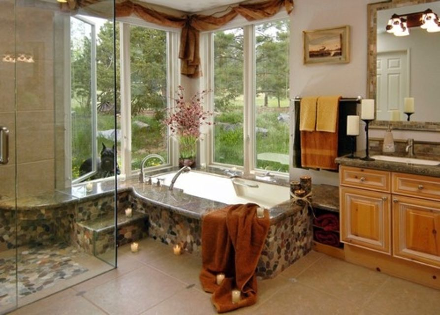 Traditional Dream Bathroom With Field Stone Details
