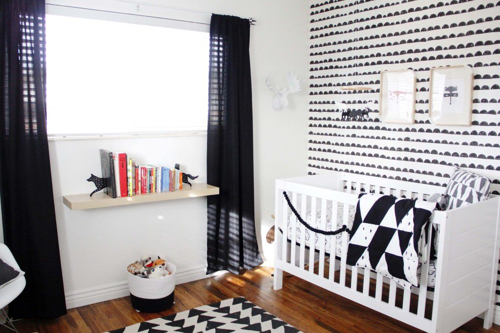 Black and white nursery with a lively mix of patterns