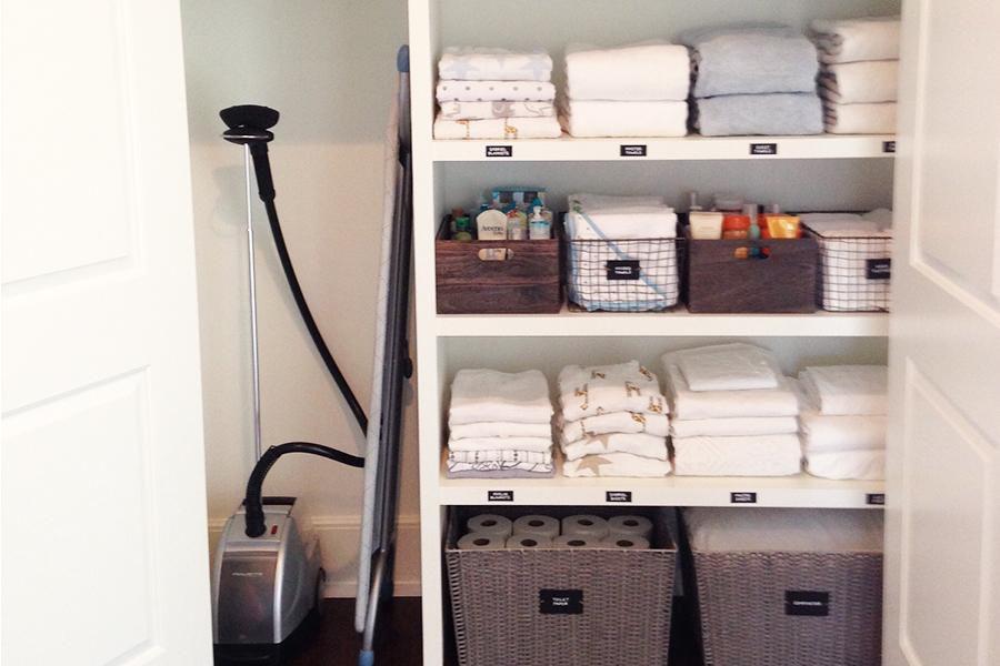 Labeled linen closet shelves