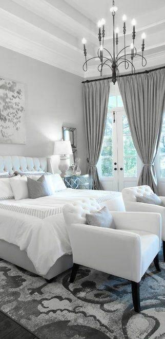 Dormitorio gris plateado