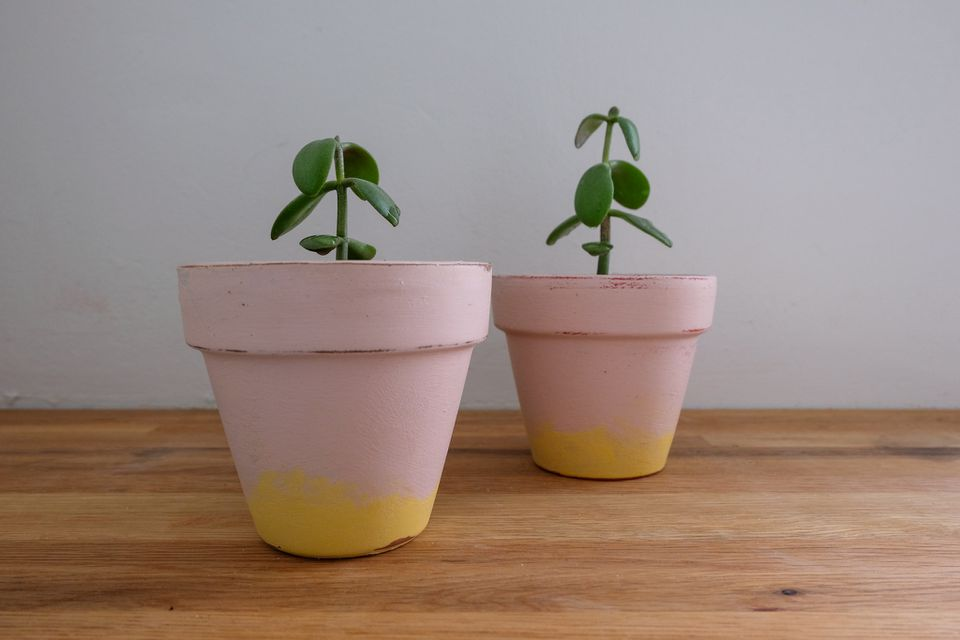 chalk paint flower pots