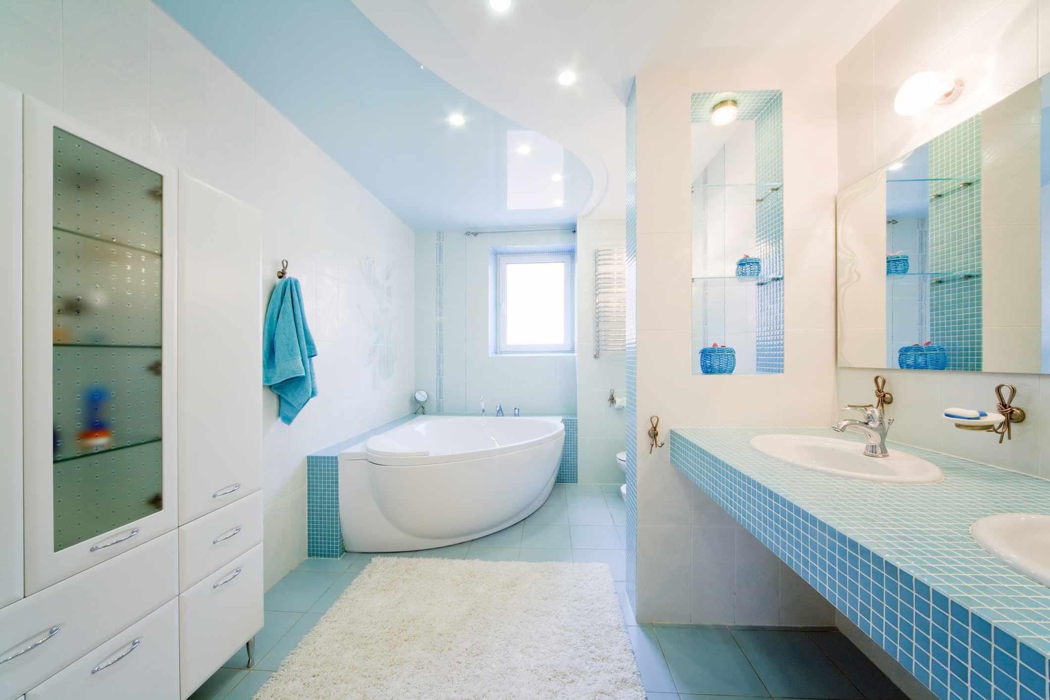 Blue bathroom ceiling