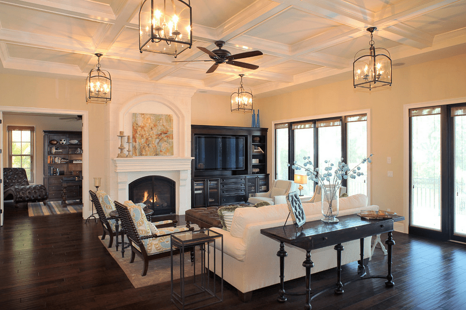 Living Room With Multiple Ceiling Lights Kari Wilbanks Interior Design