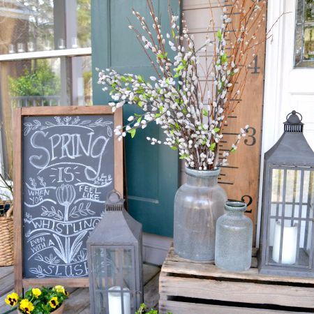 Wooden crates added to porch decor.