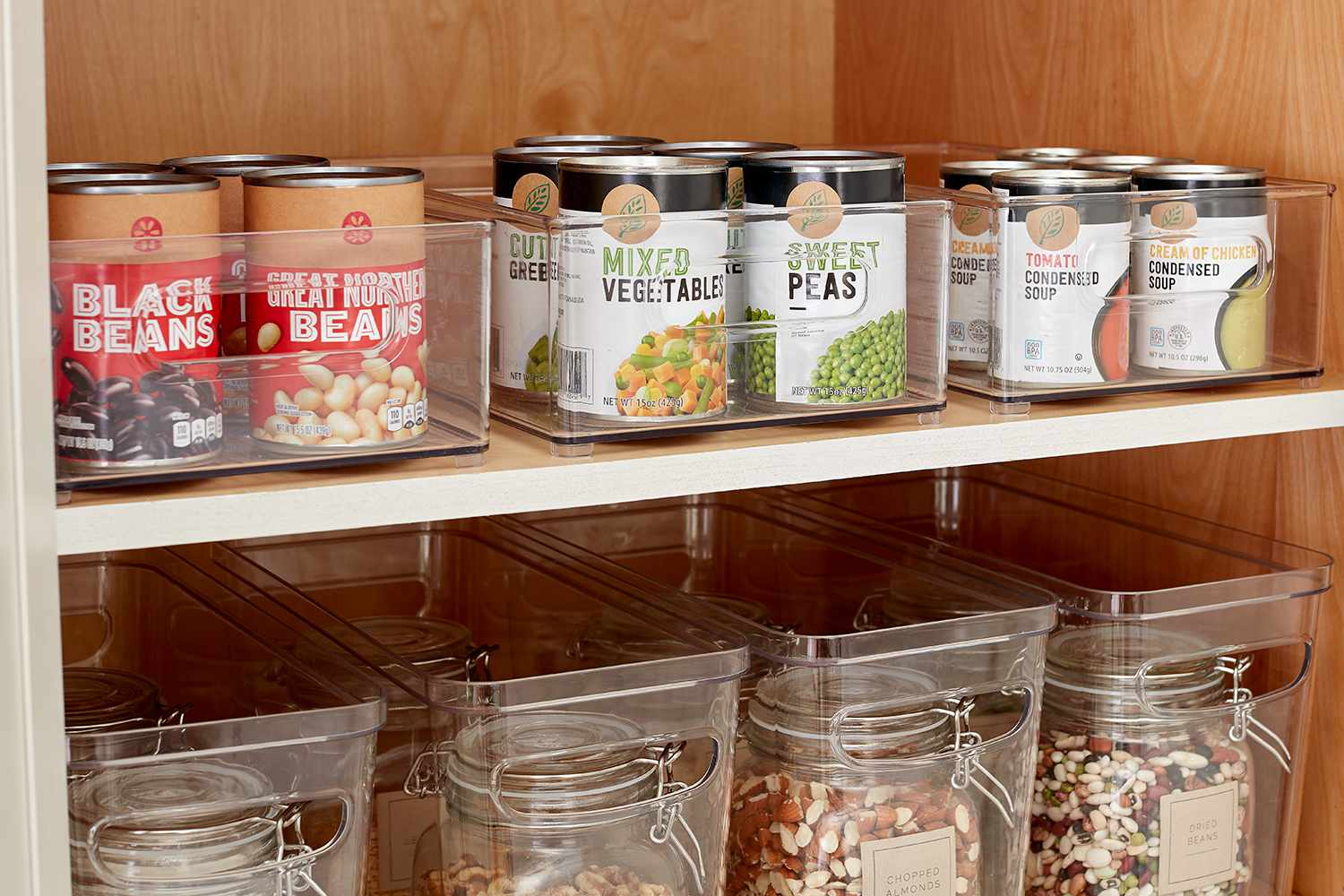 Canned goods in kitchen pantry