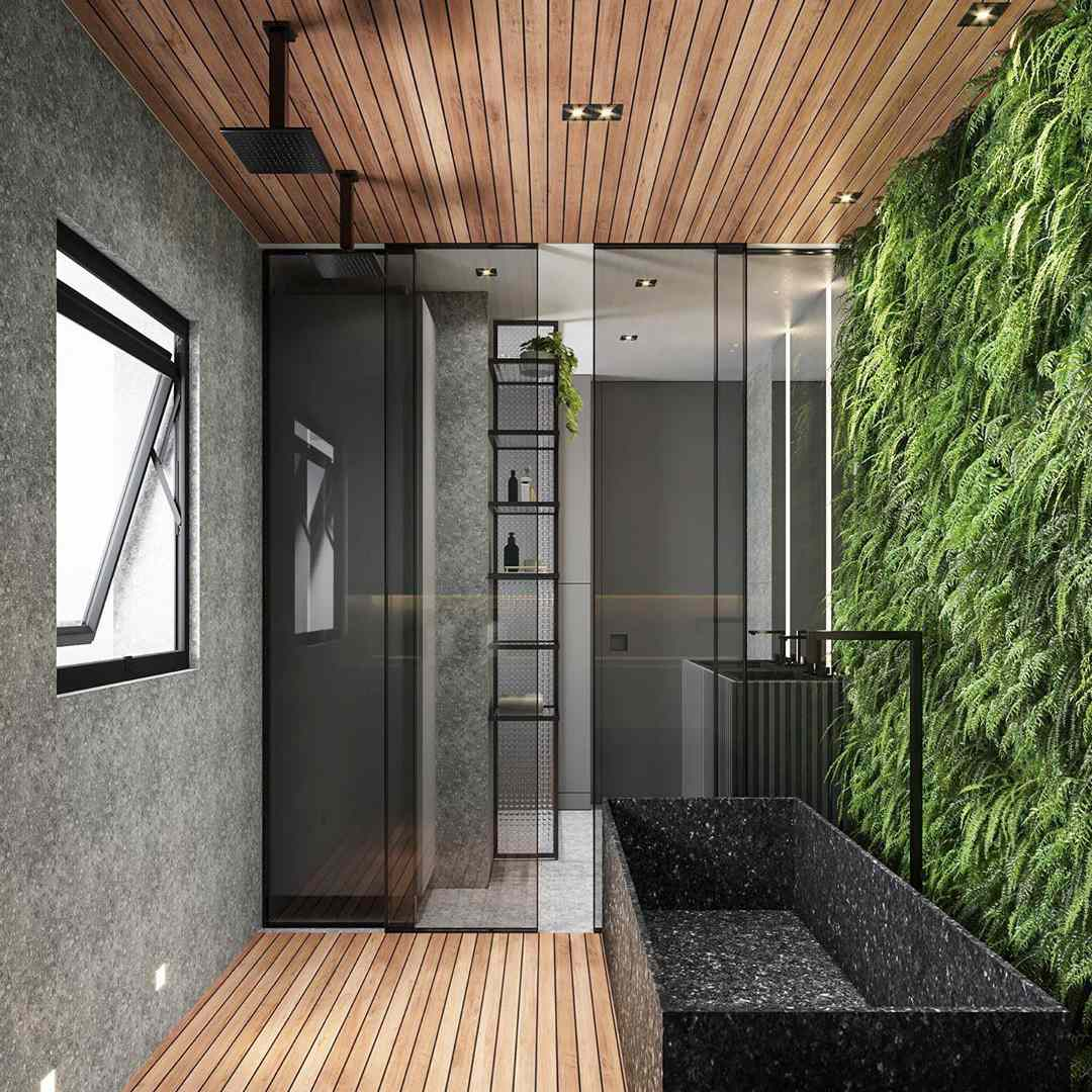 Contemporary style shower with bamboo ceilings