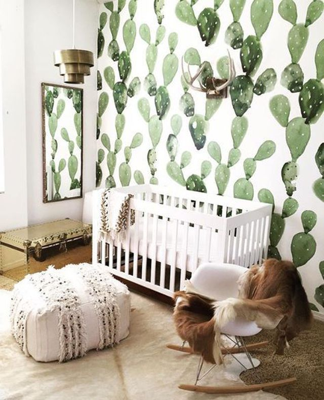 Modern Boho nursery with cacti wallpaper