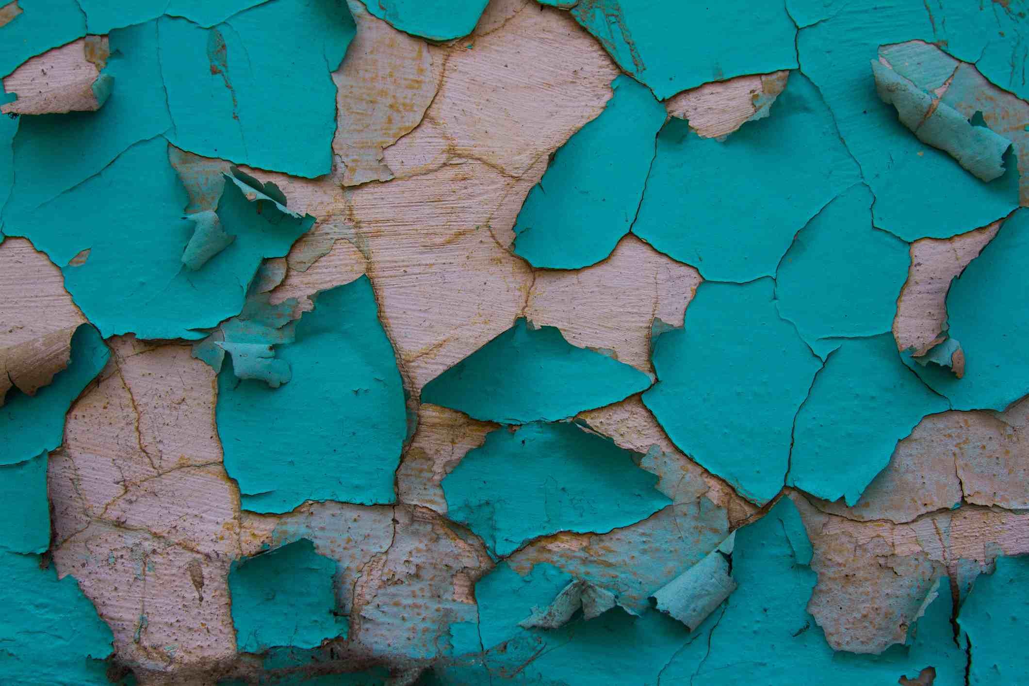 Full Frame Shot Of Weathered Peeled Blue Wall