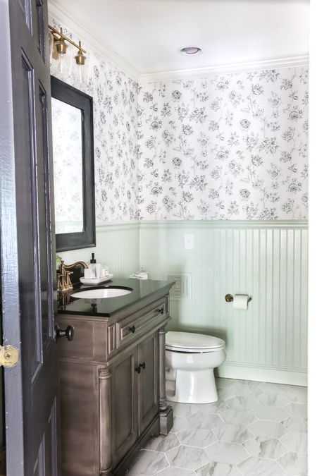Large Tiles Can Work Wallpaper In Bathroom