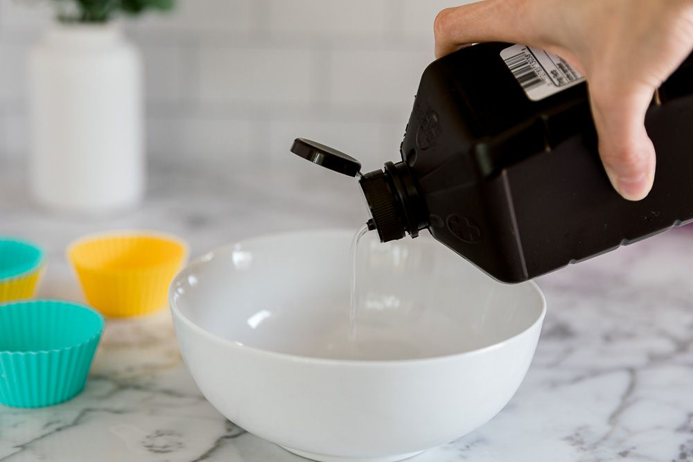adding peroxide to a bowl