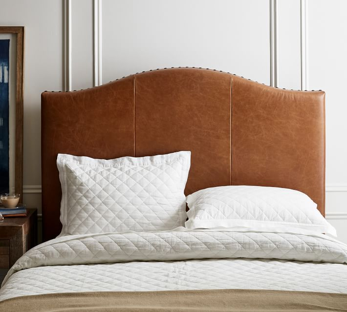 Pottery Barn Raleigh Curved Leather Headboard