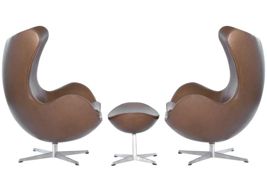 Arne Jacobsen for Fritz Hansen Egg Chairs with Footstool, 1965