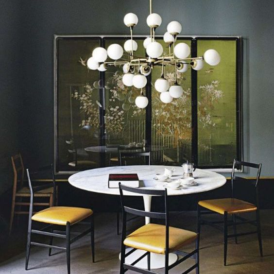 Glamorous dining room with statement chandelier