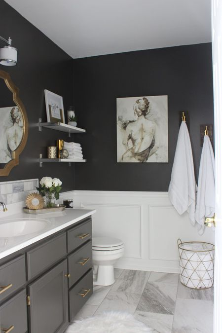 Gray Black And Gold Bathroom