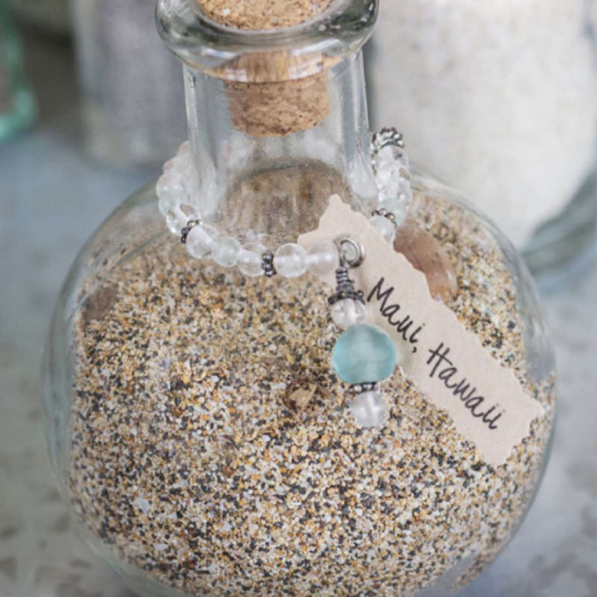 Beach sand memory jar
