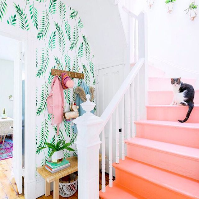 peach painted ombre stairs