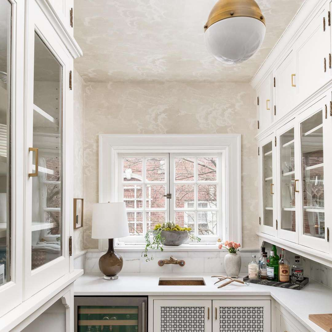 White modern butler's pantry with wine fridge