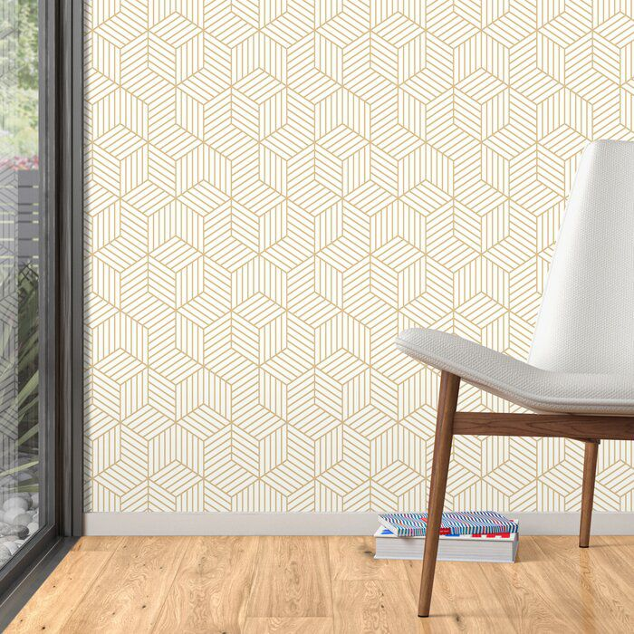 AllModern Enid Striped Hexagon Geometric Peel and Stick Wallpaper Roll