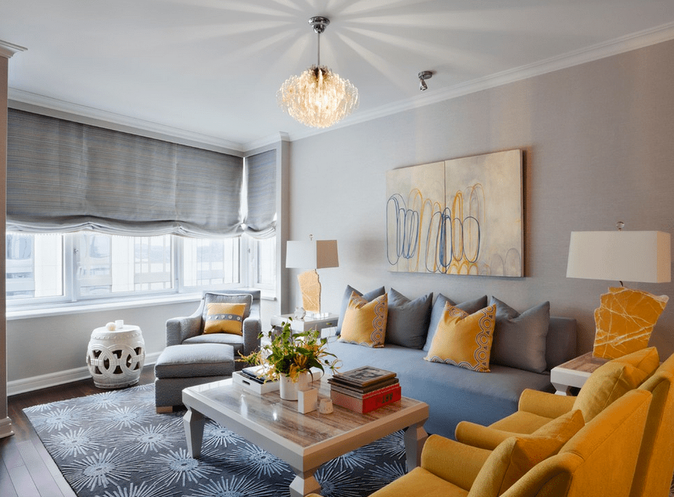 glamorous yellow gray living room | Beautiful Gray Living Room Ideas