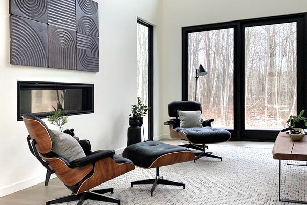modern living room with black and brown accents