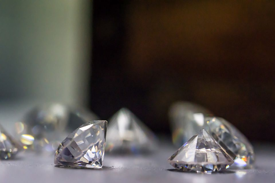 Close up of diamonds with different colors