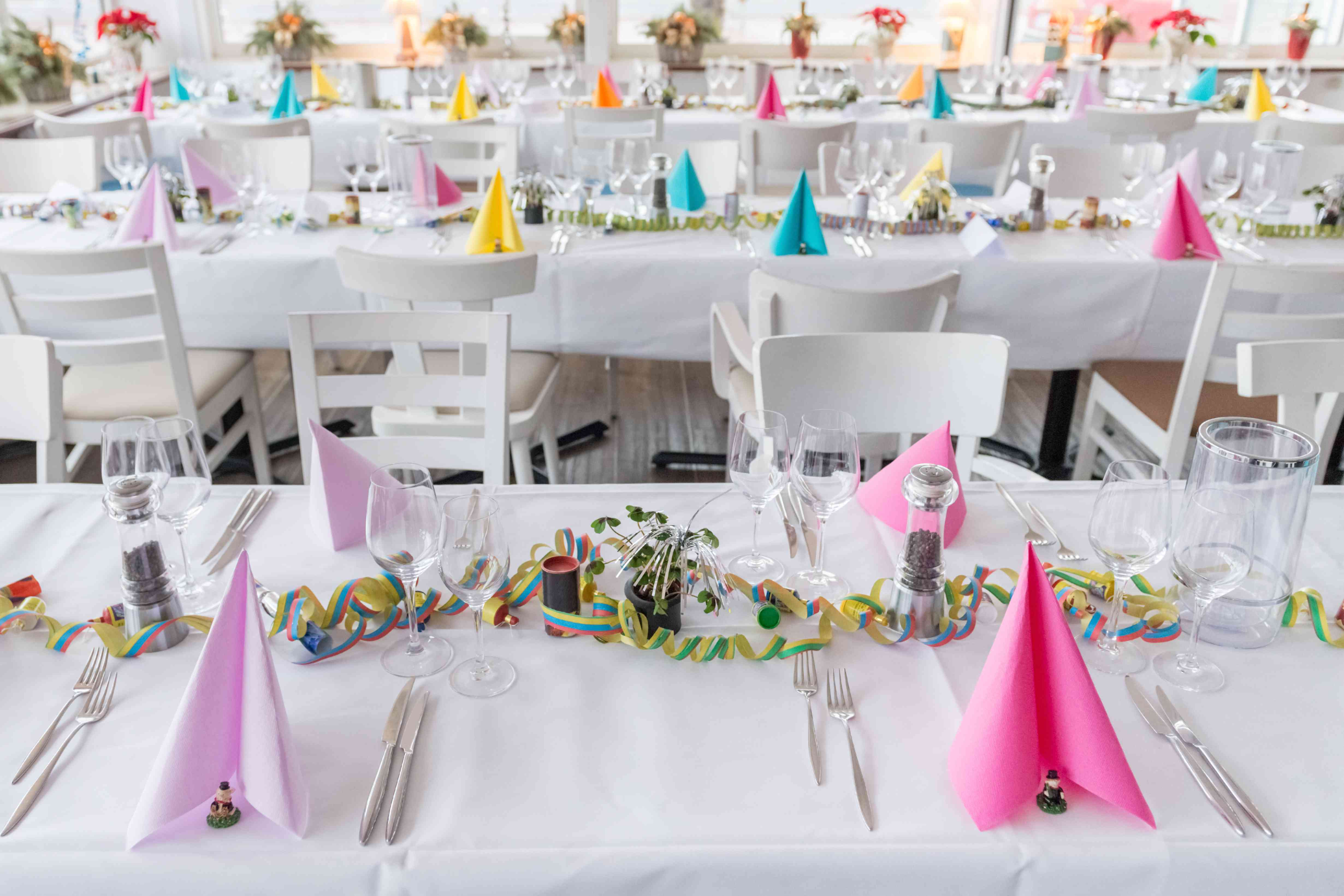 festive table setting banquet hall