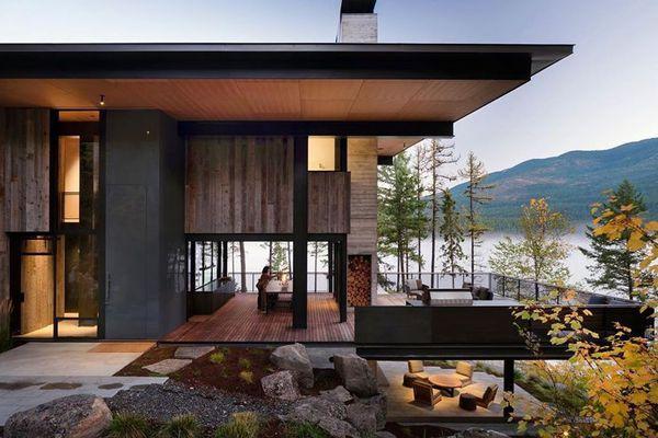 Modern house set next to water