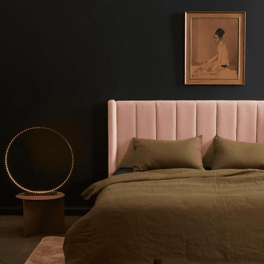 blush and black bedroom