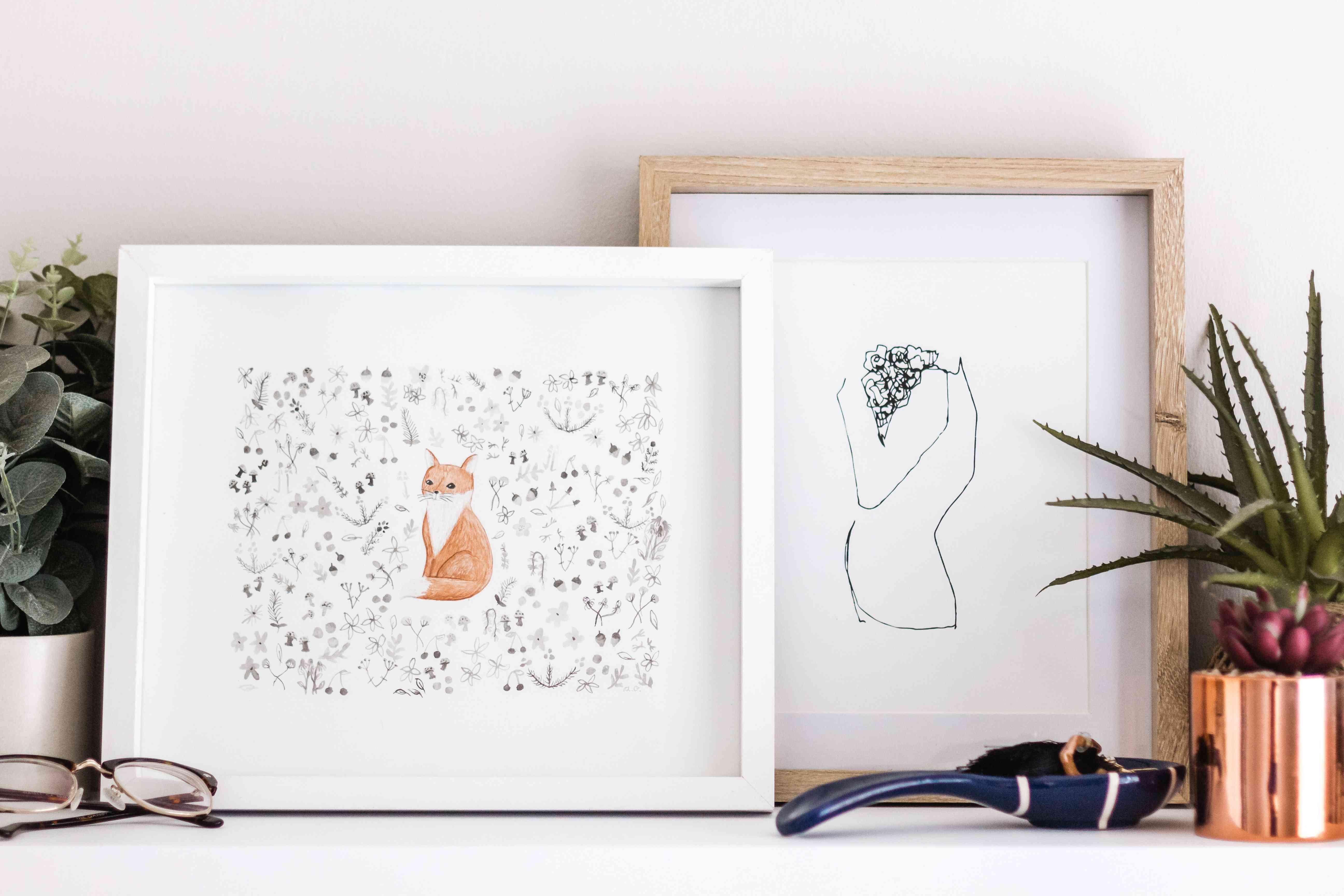 cat-inspired framed art