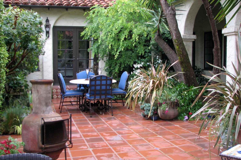 chiminea on patio