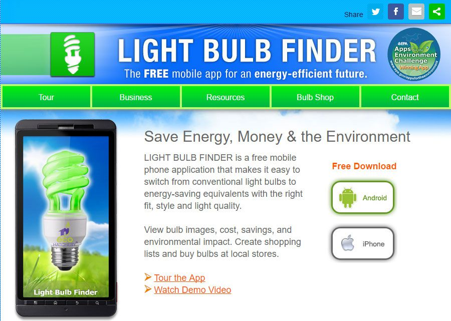 Screen shot of Light Bulb Finder app.