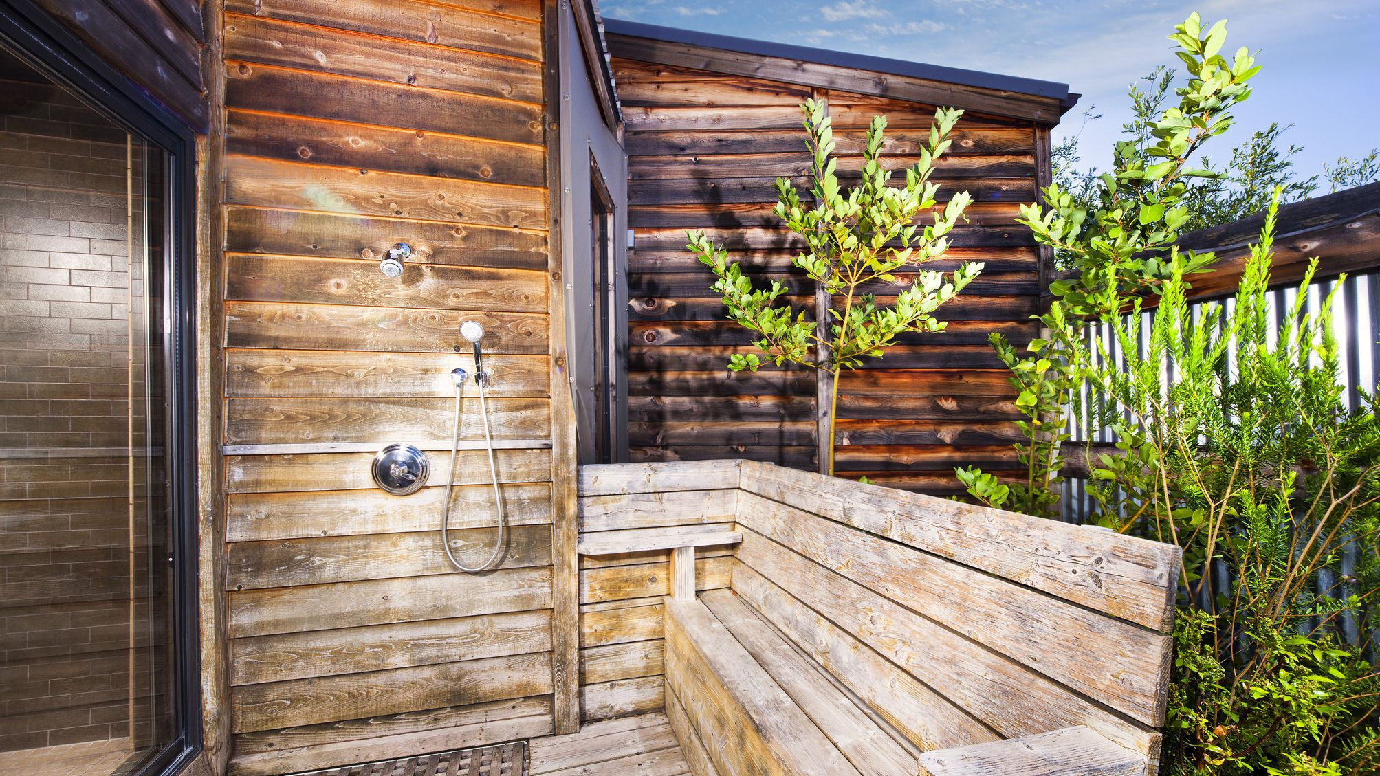 How To Build An Outdoor Shower, Outdoor Shower Drainage Pans