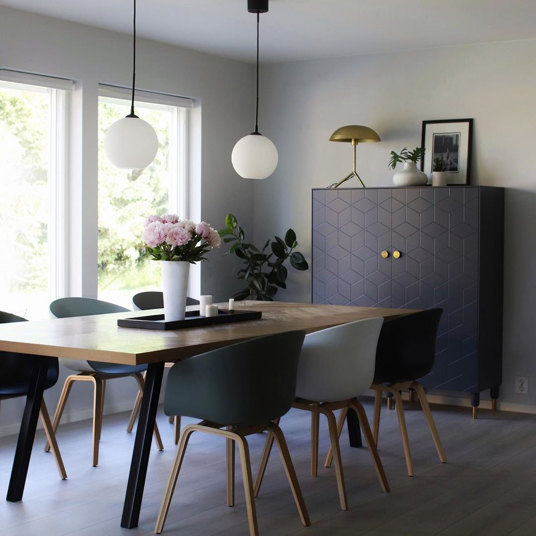 Modern dining room with gray details
