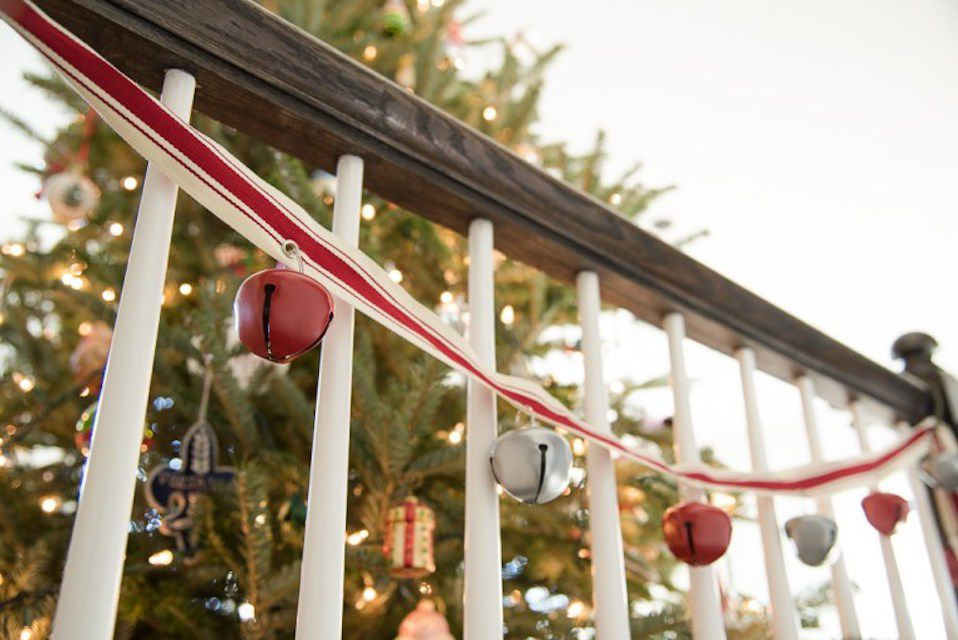 bells on a railing - Railing Christmas Decorations