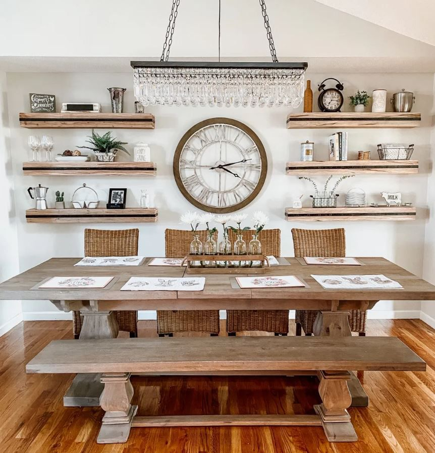 Dining room after makeover, with built in shelving and farmhouse details.
