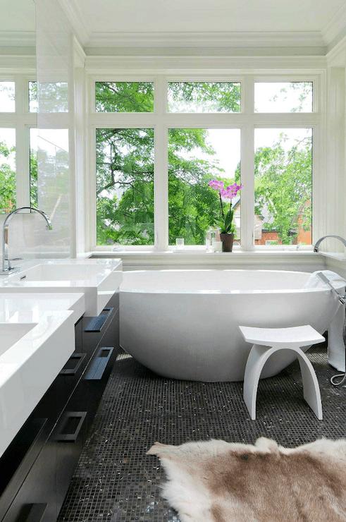 modern bathroom with black tile floor