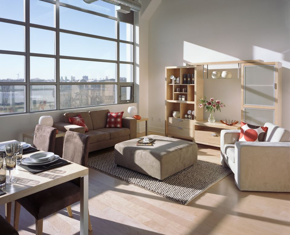 Modern living room in apartment building