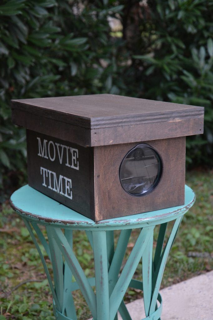 A wooden movie projector