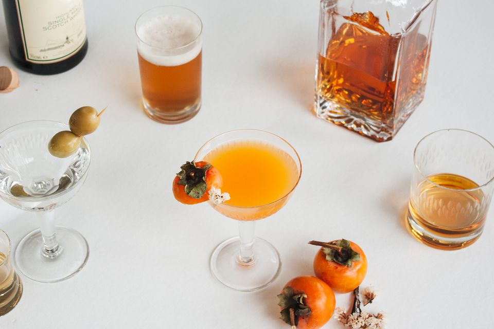 various cocktails and beer