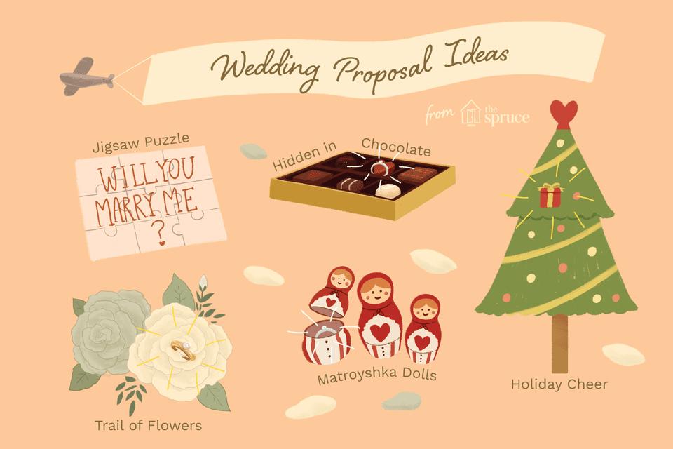 Illustration of unique wedding proposal ideas