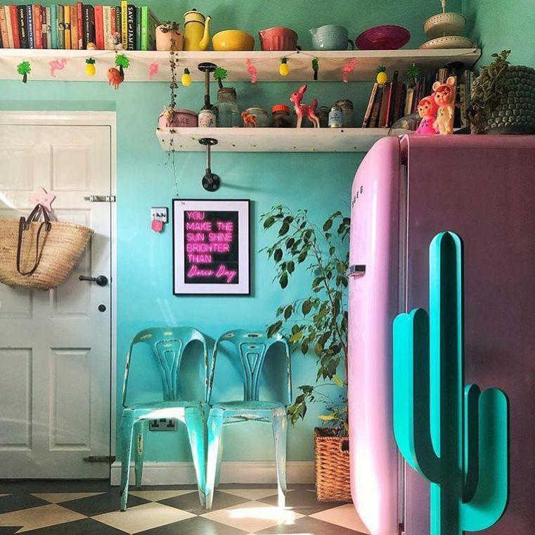 Retro kitchen with bright colors