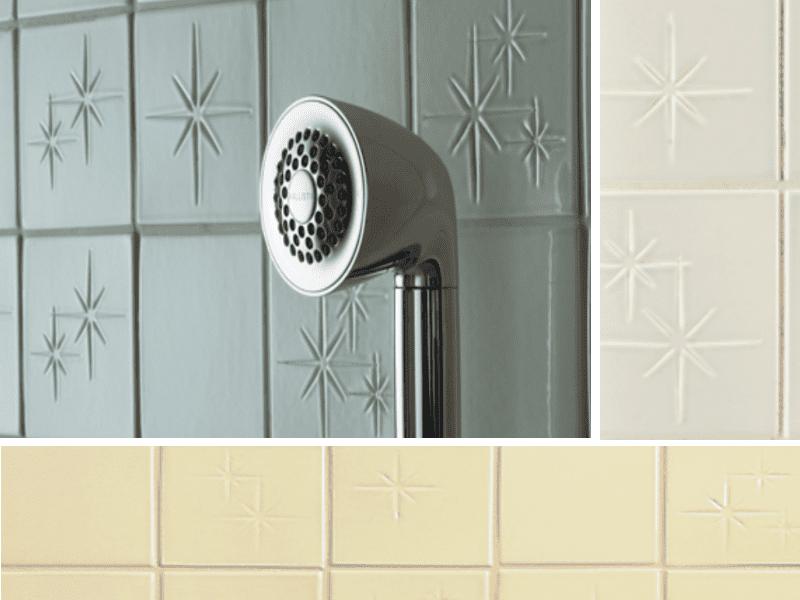 azulejo de baño retro starburst
