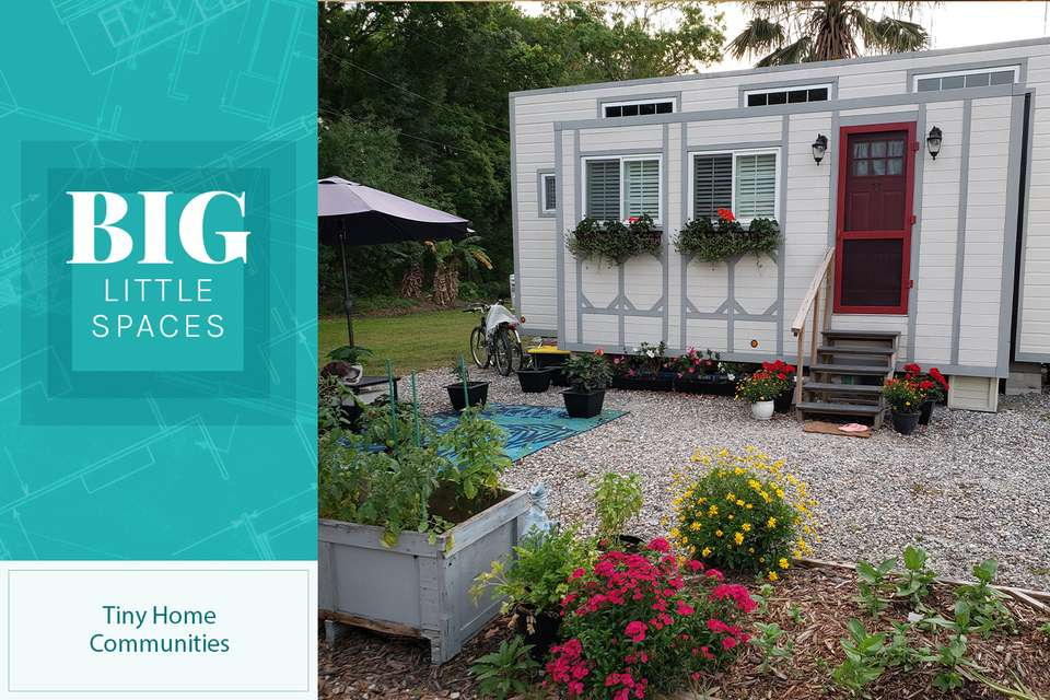a tiny home has a garden and plenty of green space