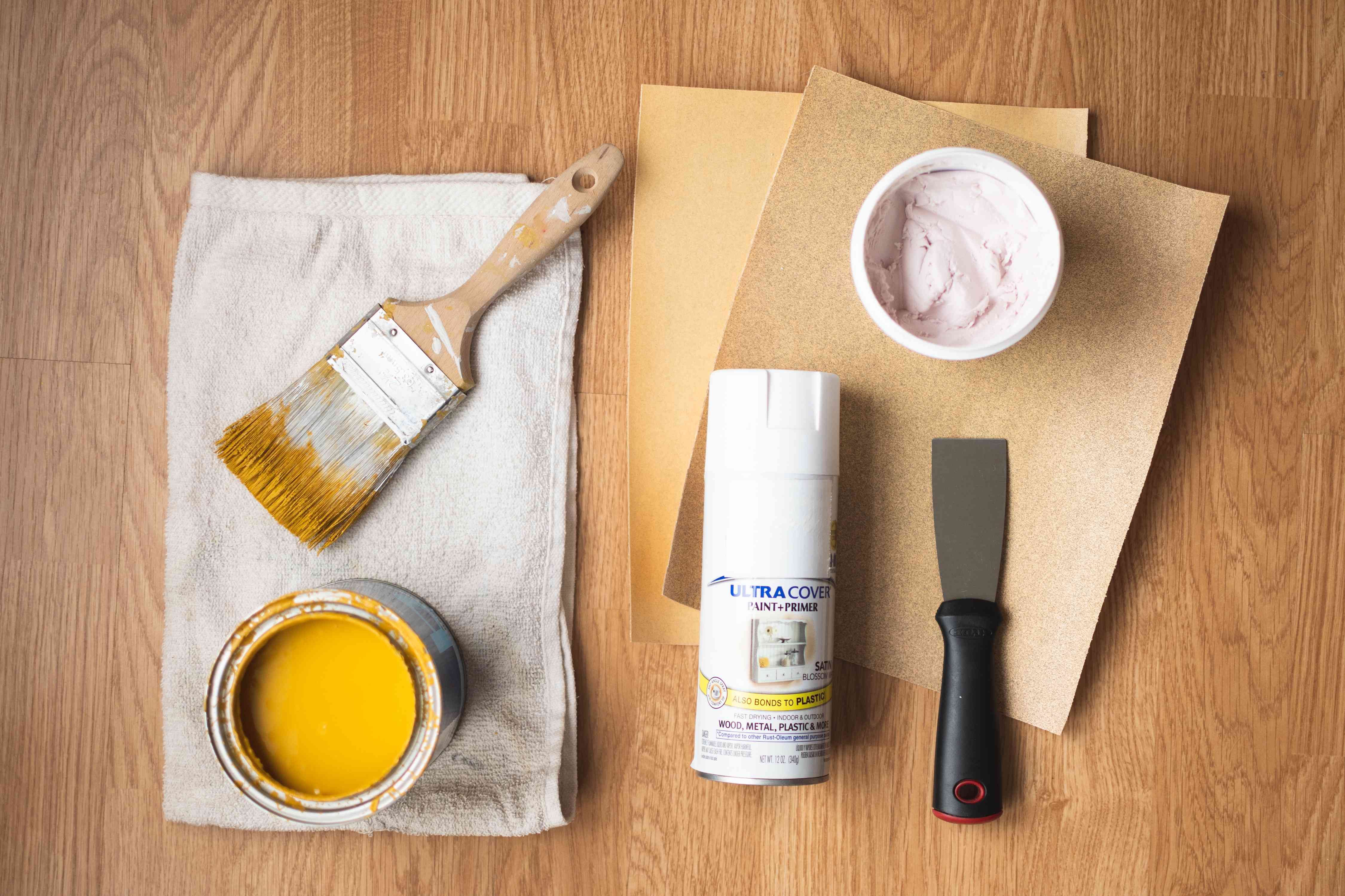 Materials and tools to refurbish wooden chairs