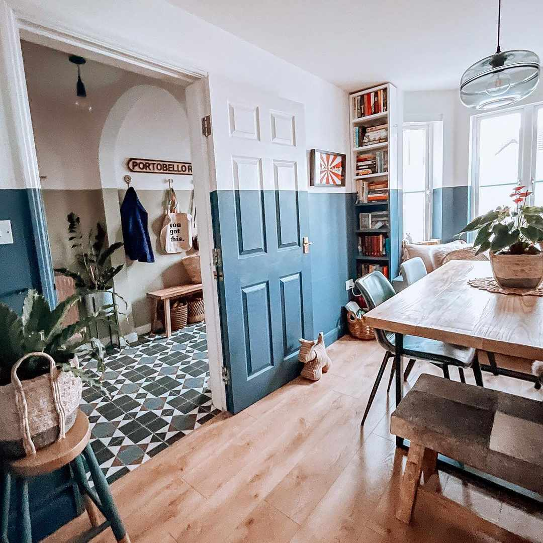 two toned blue walls